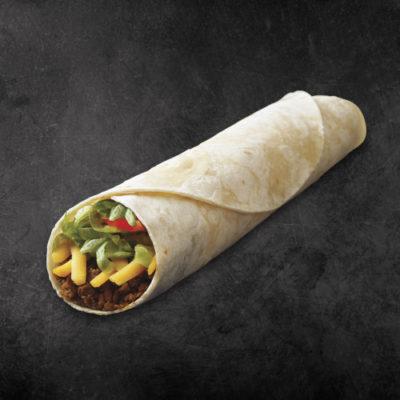 TacoTime Junior Beef Burrito on a dark background