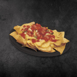A plate of TacoTime Nachos on a dark background