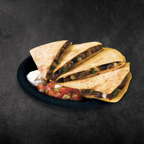 TacoTime Beef Quesadilla on a dark background