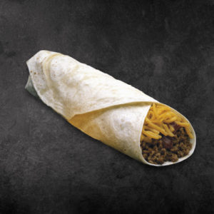 TacoTime Beef and Cheese Burrito on a dark background
