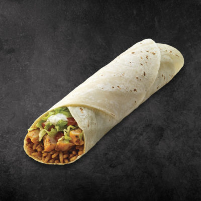 TacoTime Ranch Chicken Burrito on a dark background