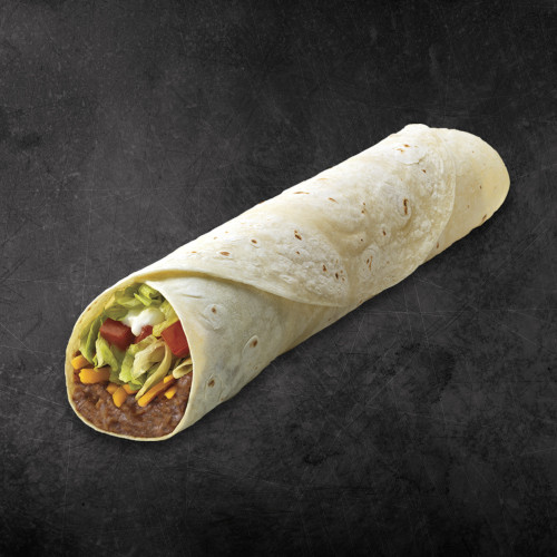 TacoTime Super Bean Burrito on a dark background