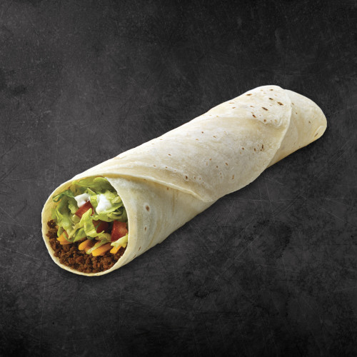 TacoTime Super Beef Burrito on a dark background