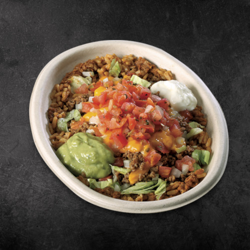 TacoTime Beef Burrito Bowl on a dark background